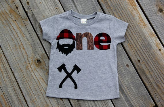 Lumberjack First Birthday Shirt Woodland