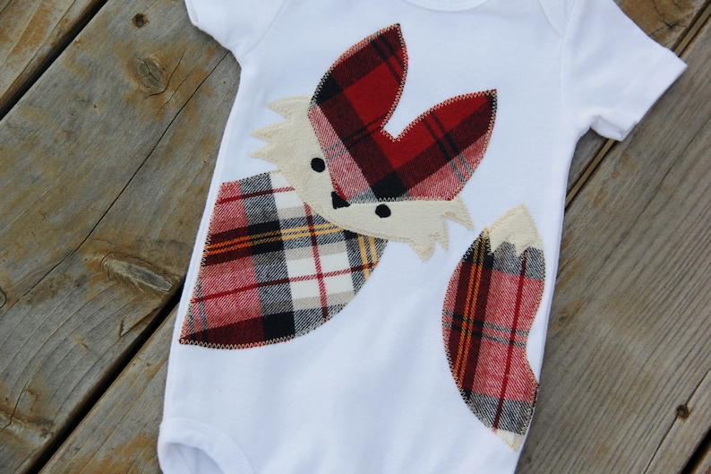 Wildlife Baby Baby Shower Gift Plaid Fox Bodysuit Woodland Bodysuit Fox Bodysuit Rustic Baby Baby Fox Shirt