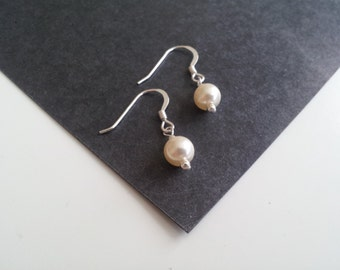 Bridal, Swarovski Pearl, Single Drop Earrings. - standard. Perfect for Christmas Parties and Gifts.