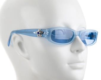 790b6274a50 90s MOSCHINO Frosted Baby Blue Tinted Coloured Lens   Rectangular Square  Slim Eye Vintage Designer Sunglasses w  Jewels!