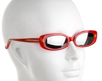 68db91b91a4b VERSACE VERSUS Millennium Y2K Crimson Red Slim Geometric Rectangular Square  Vintage Designer Sunglasses w/ Mirrored Lenses
