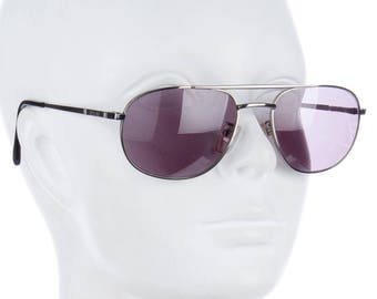 5aff88737919 GIANNI VERSACE Late 80s Timeless Silver Metal Aviator Sunglasses w  Dark  Purple Lenses - Unisex
