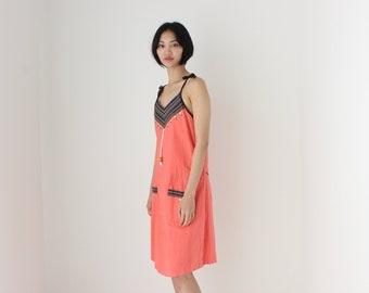 90s Thai Cotton Flax Bright Rainbow Summer Beach Smock Dress w/ Pockets