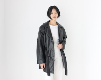 90s {Real Leather} Oversized Black Minimal Belted Trench Coat / A-Line Long Jacket - Unisex