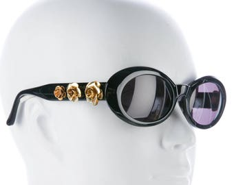 cf986f69554c3 Collectable GIANNI VERSACE Late 80s Oval Eye   Cat Eye Thick Black Vintage  Designer Sunglasses w  Gold Rose Hardware