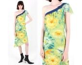 Sale Y2K DOLCE GABBANA Tie Dye Mesh Denim Asymmetric Abstract Wearable Art One Shoulder 00s Millennium Sheath Dress
