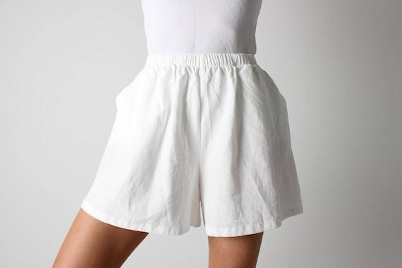 Cotton / Linen Simple White Elastic High Waist Fla