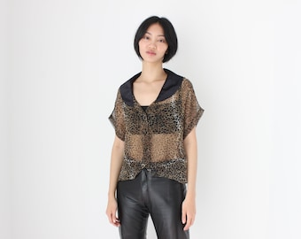 80s Sheer Chiffon Leopard / Cheetah / Animal Print Short Sleeve Blouse / Shirt