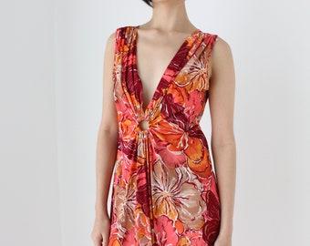 70s Sassy Floral Print & Circular Ring Detail Relaxed Summer Picnic Dress