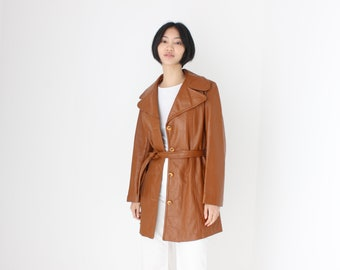 True 70s Chestnut Brown Leather Belted Jacket / Trench Coat - Unisex