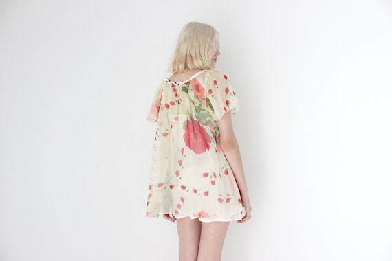 Handmade 80s Sheer Floral Gauze Flutter Wing Sleev