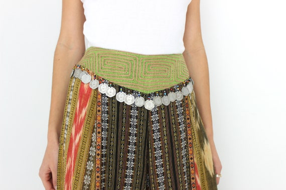 90s Vintage Cambodian Printed Cotton High Waist W… - image 9