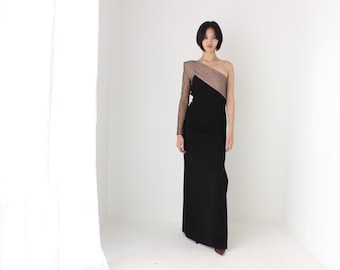 2000s GIVENCHY Head-Turning Minimal Mesh Super Chic One Sleeve / One Shoulder Asymmetric Formal Gown
