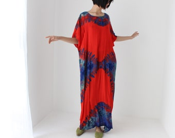 90s Rayon Gauze Tie Dye Sheath Kaftan Free Size / Loose Maxi Tee Vacation Beach Dress