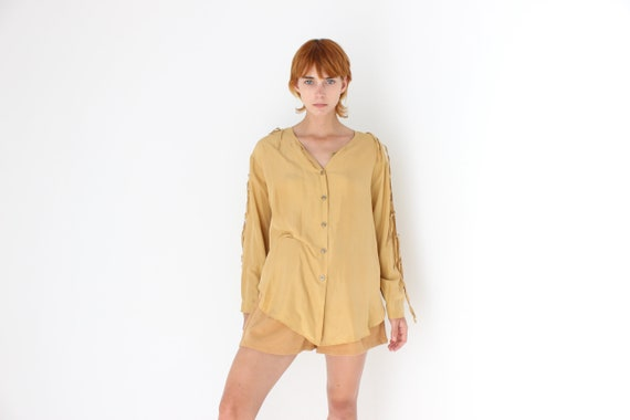 vintage raw silk short sleeve button down shirt size L  XL