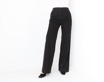 Y2K Balenciaga Sleek Black Avant Garde Structured Wide Leg High Waist Cotton Trousers