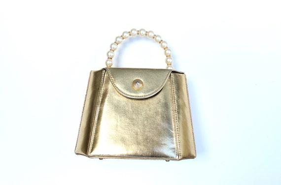 Sale // 80s Gold Metallic Vegan Leather Structured