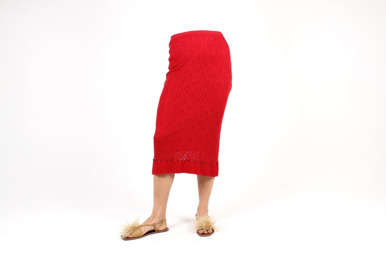 90s Cherry Red Knit Crochet Stretch Knee Length Tube / Bandage image 0