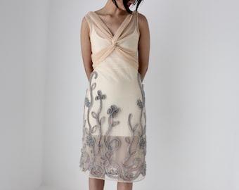 Surrealist Super Unique Y2K Textured Mesh Wearable Art Avant Garde Minimal Fitted Dress w/ 3D Flower Garden