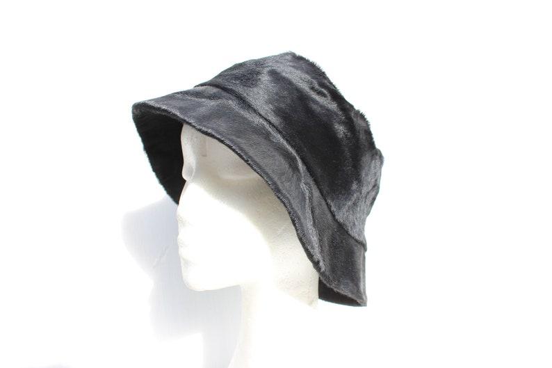 3bec38e0603b5 Vintage PRADA Calfskin Leather Black Textured Fur Soft Brim Bucket Hat -  Mens / Womens / Unisex - Insanely Rare & Collectible