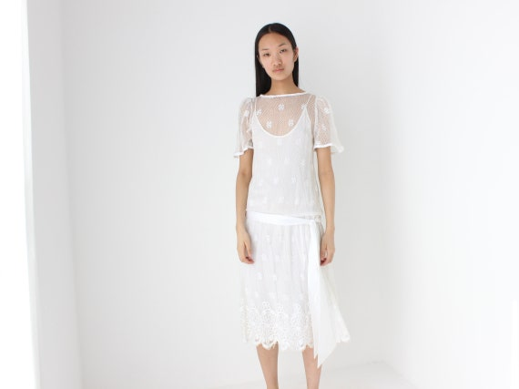 80s White Lace Puff Sleeve Prairie / Dolly / Lolit