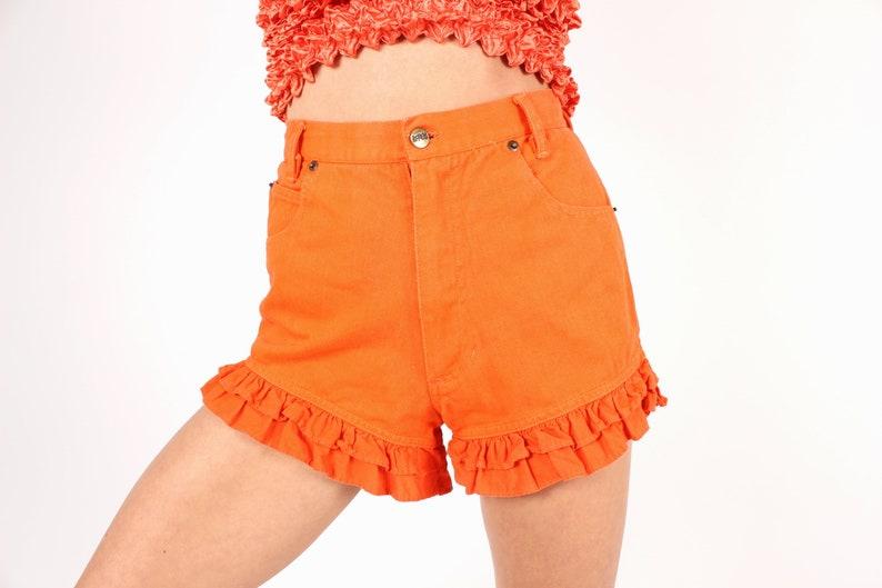 CUTEST EVER 80s Bright Orange Denim High Waisted Frill Ruffle image 0