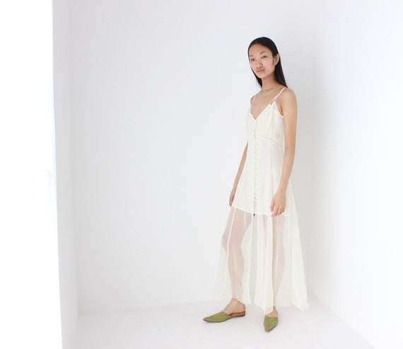 90s Sheer Romantic White Button Up Babydoll Maxi S