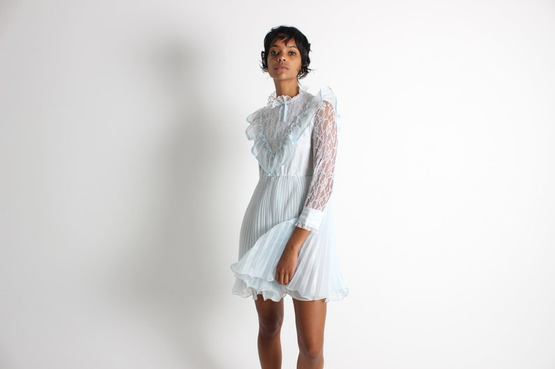 80s Ruffle  Lace  Pleated DOLLY Sheer White  Pastel Blue image 0