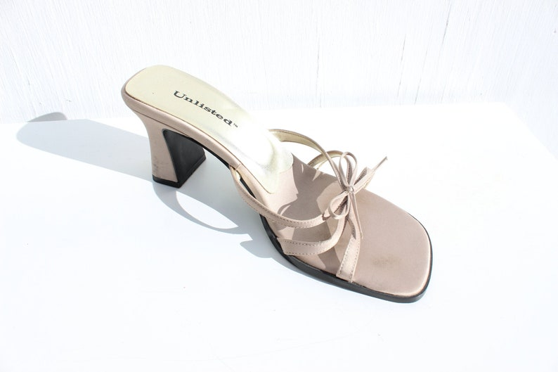3d86d6f1b53a6 Y2K Minimal Satin Ribbon Bow Strappy Metallic Silver Chunky Low Kitten Heel  Mules / Heeled Sandals Shoes Euro 39 / AU 8 / UK 6 / US 9
