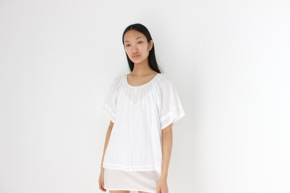 90s Simple Cotton Gauze Flutter Sleeve Smock Top - image 2