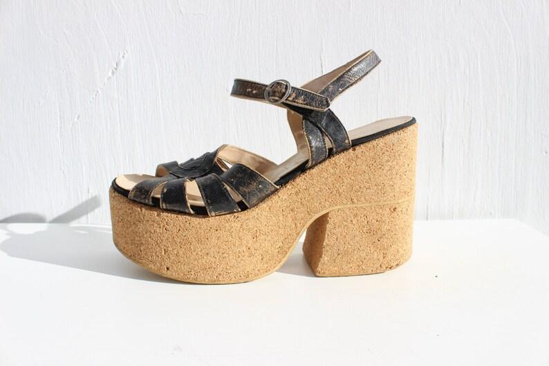 73d6d96a3cad6 70s Mega Cork Platform Strappy Leather Heeled Disco Sandals by | Etsy
