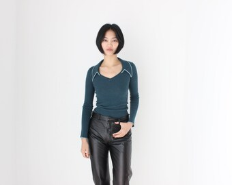 Sonia Rykiel 90s Emerald Wool Sexy Minimal Stretch Knit Open Neck & Collared Long Sleeve Sweater Top