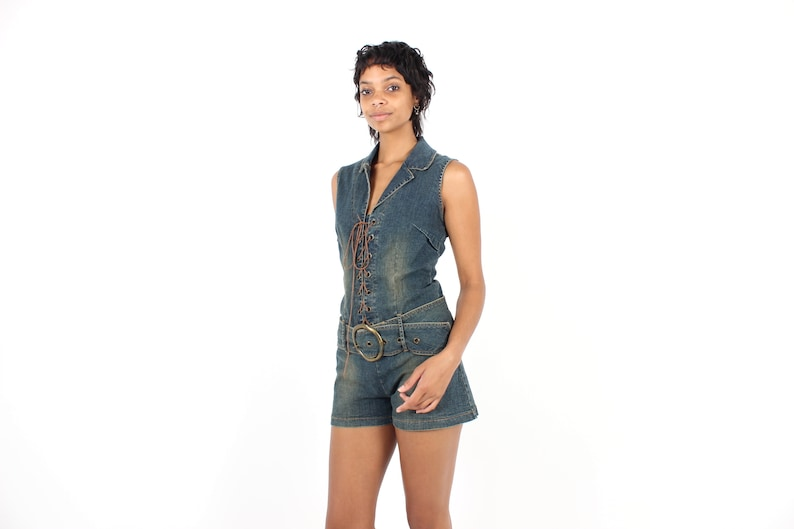 Y2K Charlies Angels LACE UP DENIM Sexy Collared Coyote Ugly image 0