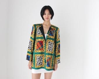 "80s Italian SILK Opulent Baroque ""Picture Frame"" Printed Jacket / Boxy Blazer / Blouse / Shirt Dress - Unisex"