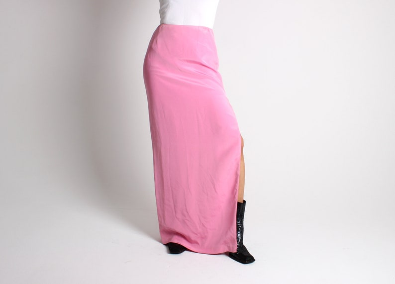 90s SILK Baby Pastel Pink Minimal High Waist Fitted Maxi Skirt image 0