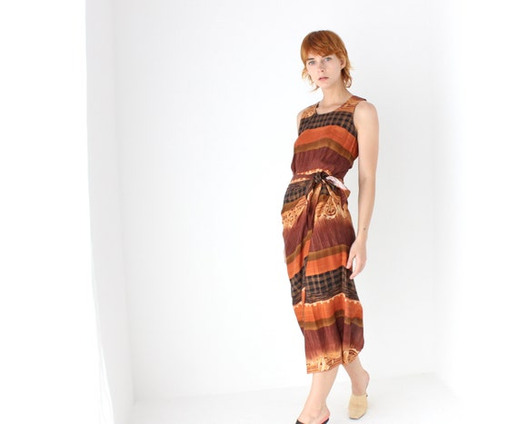 "90s Earthy Rayon Gauze Simple Summer ""Wrap"" Dress"