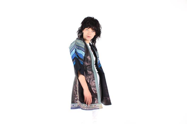 Black Friday Sale  One Off Laotian Avant Garde Intricate Patchwork Structured Origami WEARABLE ART Kimono Jacket