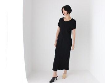 90s Black Crepe Gauze Minimal Loose / Relaxed Tee Midi Sheath Dress