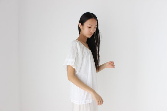 90s Simple Cotton Gauze Flutter Sleeve Smock Top - image 6
