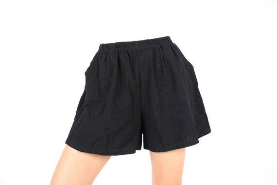 Cotton / Linen Blend Simple Black Elastic High Wai