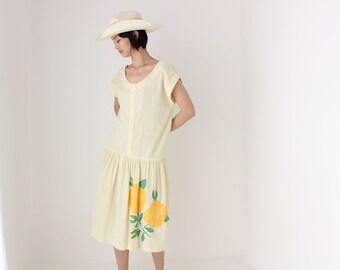 80s Voluminous Seersucker Cotton Drop Waist Lemon Yellow Pastel Structured Silhouette Avant Garde Summer Puff Beach Dress
