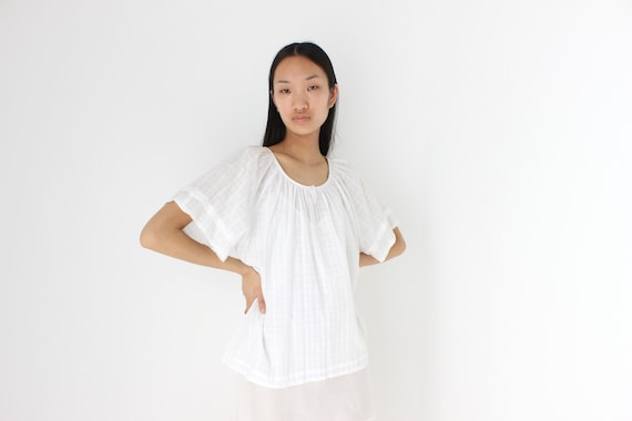 90s Simple Cotton Gauze Flutter Sleeve Smock Top