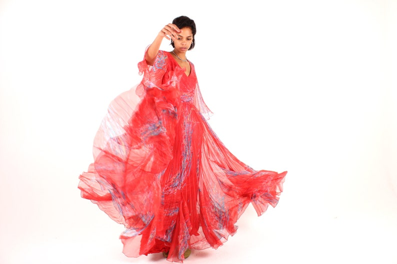 Showstopping 70s Sheer Red Pleated Dramatic Avant Garde Maxi image 0