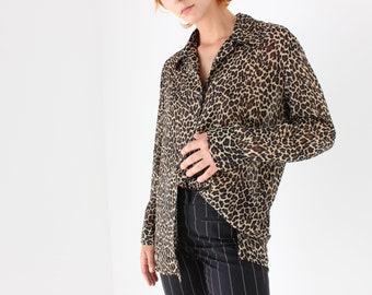 90s Classic Leopard Oversized Blouse