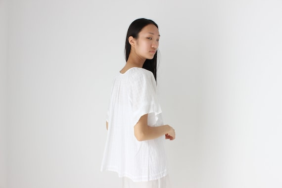 90s Simple Cotton Gauze Flutter Sleeve Smock Top - image 5