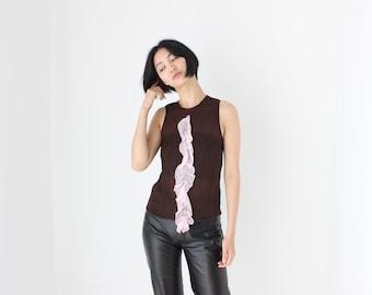 2000s PRADA Pure Silk Chiffon Chocolate + Pink Ruffle Frill Wearable Art Avant Garde Textured 3D Minimal Tank Crop Top