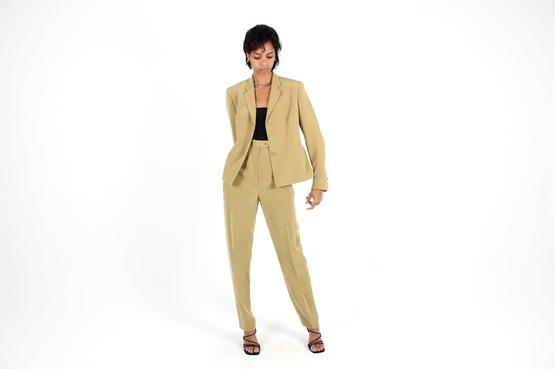 90s Olive SILK Beautifully Tailored Two Piece Pant SUIT w/ image 0