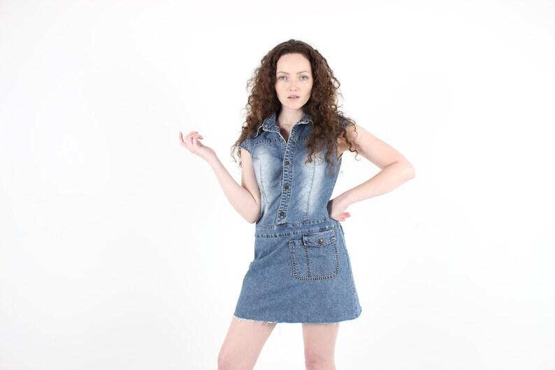 71822a5edba Y2K Sexy Denim Button Up Mini Shirt Tee Dress w/ Fraying | Etsy