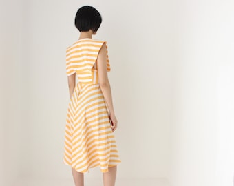 80s does 50s Striped Statement Collar + Cinched Waist + Full Circle Skirt Pastel Peach Summer Dress