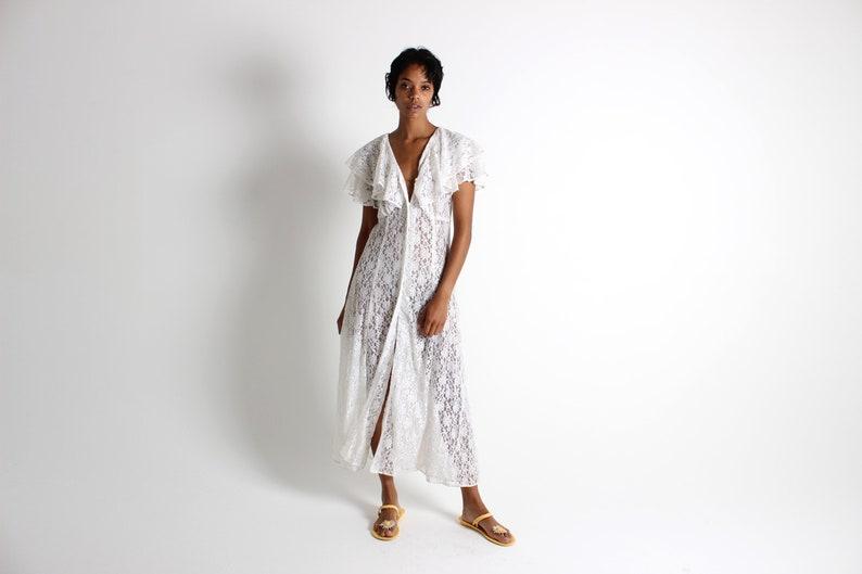 90s Romantic Sheer White Lace Ruffle Flutter Sleeve Feminine  image 0